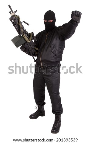 robber with machine gun isolated