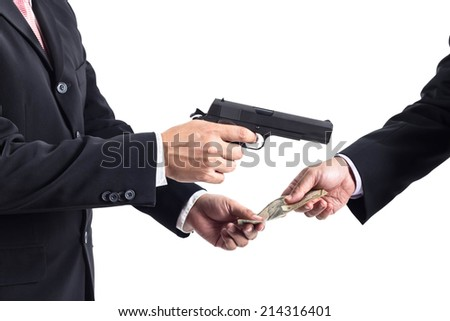 Robbery by businessman concept unethical or corruption - stock photo