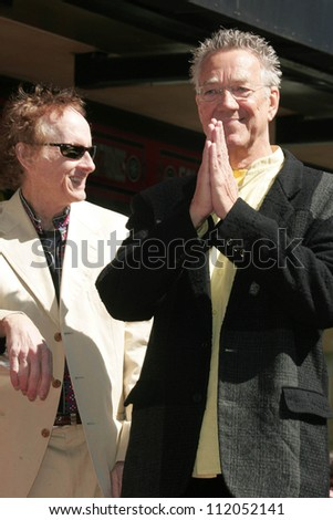 "Robby Krieger and Ray Manzarek at the Ceremony Honoring the Band ""The Doors"" with a star on the Hollywood Walk of Fame. Hollywood Boulevard, Hollywood, CA. 02-28-07"