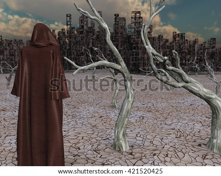 Robed Figure Before Destroyed City 3D Render - stock photo