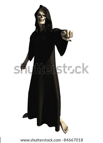 Robed figure of death pointing towards the viewer, 3d digitally rendered illustration