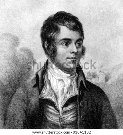 Robert Burns (1759-1796). Engraved by W.Clerk and published in A Biographical Dictionary of Eminent Scotsmen, United Kingdom, 1870. - stock photo