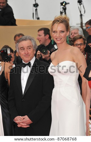 """Robert De Niro & Uma Thurman at the gala premiere for """"Midnight in Paris"""" the opening film at the 64th Festival de Cannes. May 11, 2011  Cannes, France Picture: Paul Smith / Featureflash - stock photo"""