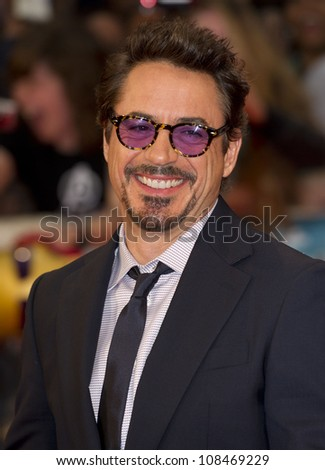 """Robert Downey Jr arrives for the """"Avengers Assemble"""" premiere at the Vue cinema Westfield, London. 19/04/2012 Picture by: Simon Burchell / Featureflash - stock photo"""