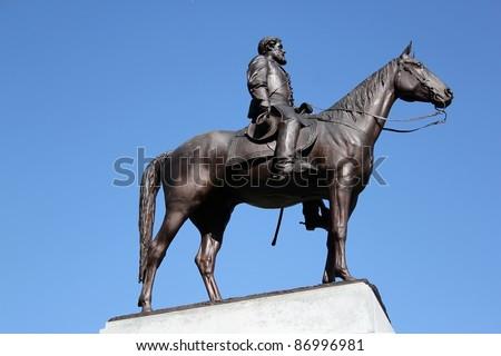 robert e lee gettysburg memorial - stock photo