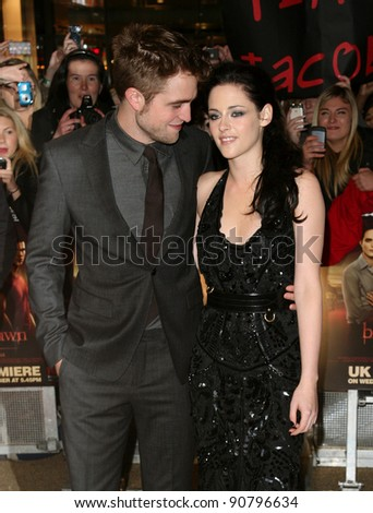 Robert Pattinson and Kristen Stewart arriving for the UK premiere of The Twilight Saga: Breaking Dawn Part 1 at Westfield Stratford City, London. 17/11/2011 Picture by: Alexandra Glen / Featureflash - stock photo