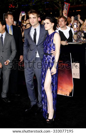 Robert Pattinson and Kristen Stewart at the Los Angeles premiere of 'The Twilight Saga: Breaking Dawn Part 1' held at the Nokia Theatre L.A. Live in Los Angeles, USA on November 14, 2011. - stock photo