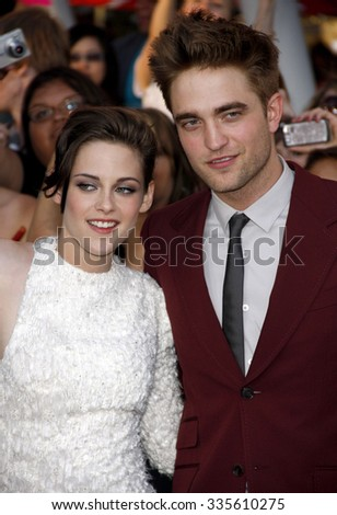 """Robert Pattinson and Kristen Stewart at """"The Twilight Saga: Eclipse"""" Los Angeles Premiere held at the Nokia Live Theater in Los Angeles, California, United States on June 24, 2010.   - stock photo"""
