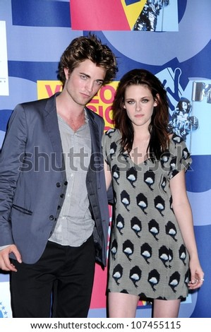 Robert Pattinson and Kristen Stewart  in the press room at the 2008 MTV Video Music Awards. Paramount Pictures Studios, Los Angeles, CA. 09-07-08 - stock photo