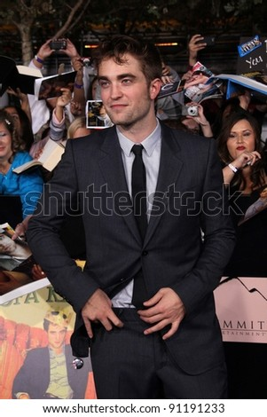 "Robert Pattinson at ""The Twilight Saga: Breaking Dawn - Part 1"" Los Angeles Premiere, Nokia Theatre L.A. Live, Los Angeles, CA 11-14-11 - stock photo"