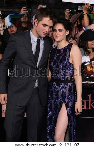 "Robert Pattinson, Kristen Stewart at ""The Twilight Saga: Breaking Dawn - Part 1"" Los Angeles Premiere, Nokia Theatre L.A. Live, Los Angeles, CA 11-14-11 - stock photo"