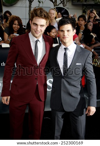"Robert Pattison and Taylor Lautner at the ""The Twilight Saga: Eclipse"" Los Angeles Premiere held at the Nokia Live Theater in Los Angeles, California, United States on June 24, 2010. - stock photo"
