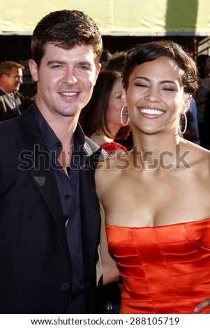 Robin Thicke and Paula Patton at the Los Angeles premiere of 'Swing Vote' held at the El Capitan Theater in Hollywood on July 24, 2008.