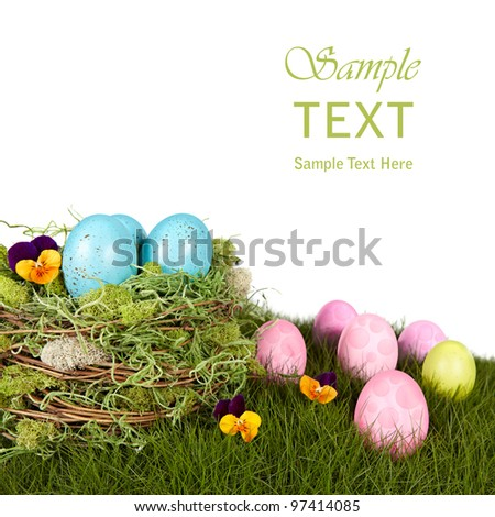Robins Blue Eggs Nestled In Moss & Twig Bird Nest Sitting On Natural Growing Grass With Pink, Purple and Green Polka Dot Easter Eggs And Orange Johnny Jump Up Violet Flowers