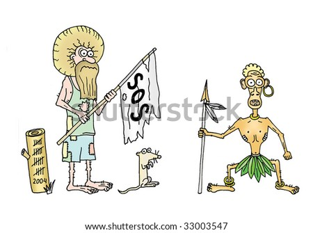 Robinson Crusoe and Friday in island - stock photo