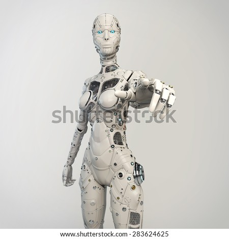 Robogirl points finger - stock photo