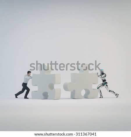 Robot and  businessman man pushed part of the puzzle. The concept teamwork human and artificial intelligence