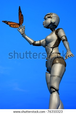 Robot and butterflie against the sky - stock photo