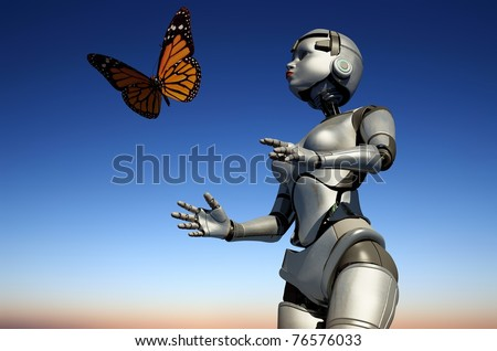 Robot and butterfly against the sky - stock photo