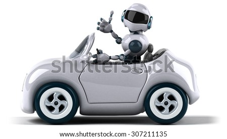 Robot and car - stock photo