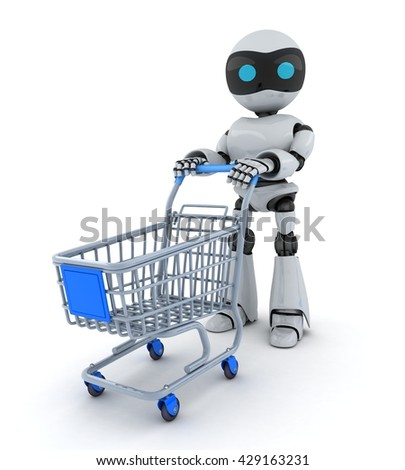 Robot and cart on white background(done in 3d)