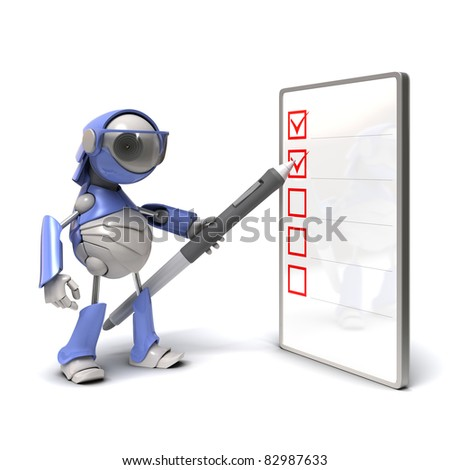 Robot and checklist - stock photo