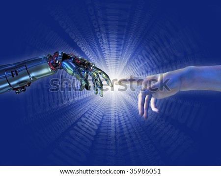 """Robot and human hands almost touching with a binary burst of light. A modern take on the famous Michelangelo painting in the Sistine Chapel; titled """"The Creation of Adam"""". - stock photo"""