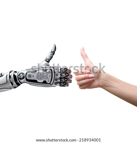 Robot and human thumbs up  - stock photo