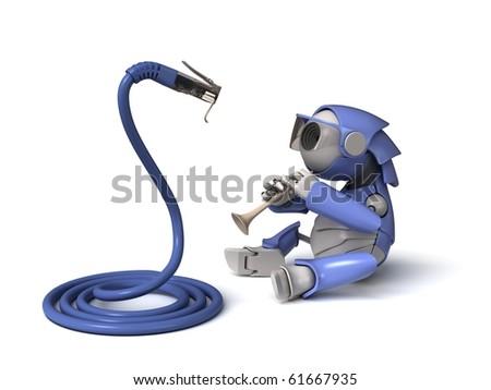 Robot and snake - stock photo