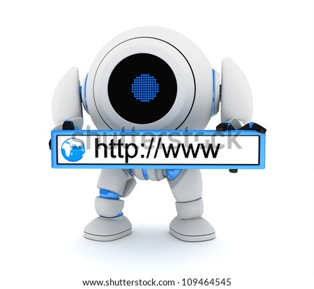 Robot and www address (done in 3d) - stock photo