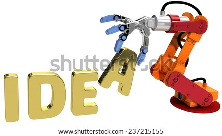 Robot arm holding letter in Idea word for automation technology  - stock photo