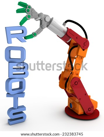 Robot arm holding robots word as illustration for robotic concept issues - stock photo