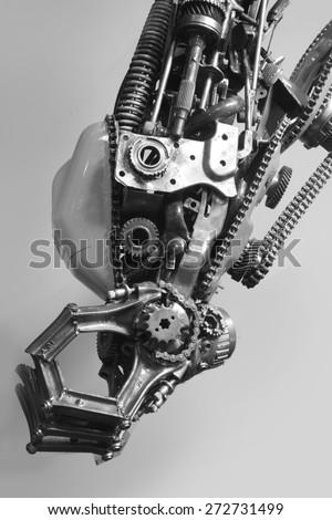 robot arm, machinery part background - stock photo