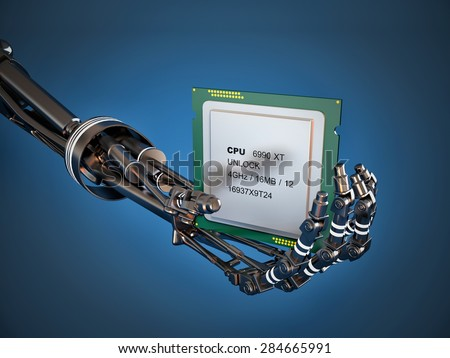 Robot arm with Chip or processor. High technology - stock photo