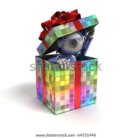 Robot as a gift - stock photo