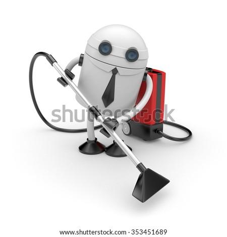 Robot businessman at work - stock photo
