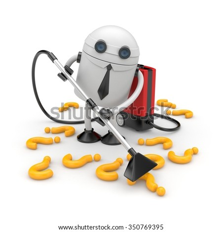 Robot businessman removes unnecessary issues - stock photo