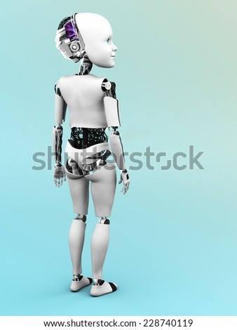 Robot child standing with its back toward the viewer.
