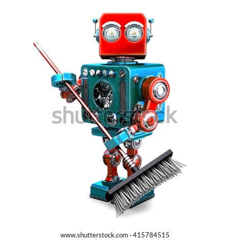 Robot cleaner with a broom. 3D illustration. Isolated. Contains clipping path.