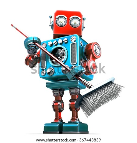 Robot cleaner with mop. Technology concept. Isolated. Contains clipping path