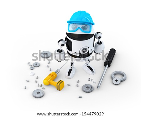 Robot construction worker with various tools. Technology concept. Isolated on white - stock photo