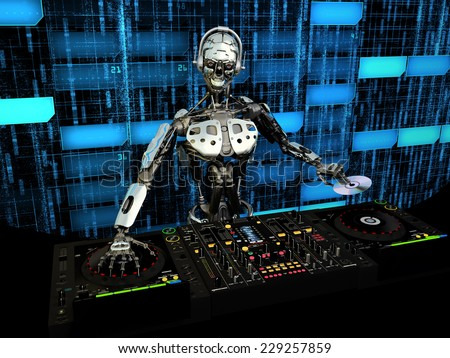 Robot DJ - A robot DJ mixing music and holding a CD in front of a futuristic background. Turntables and mixers. - stock photo