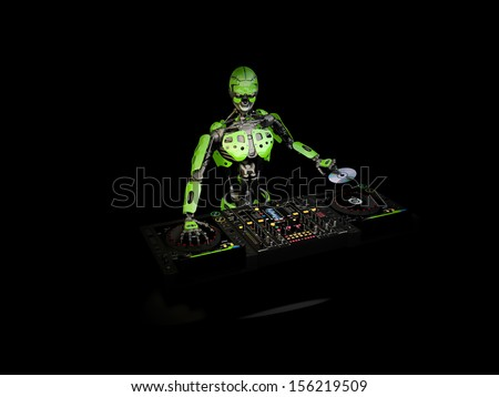 Robot DJ - A robot DJ with green panels holding a CD. Turntables and mixers. - stock photo