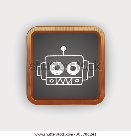 robot doodle drawing - stock photo