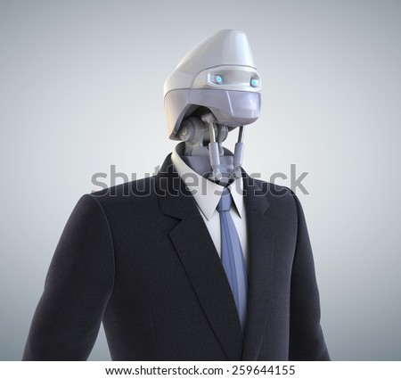 Robot dressed in a business suit. Clipping path included - stock photo