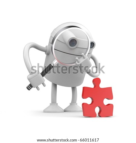 Robot examine puzzle - stock photo