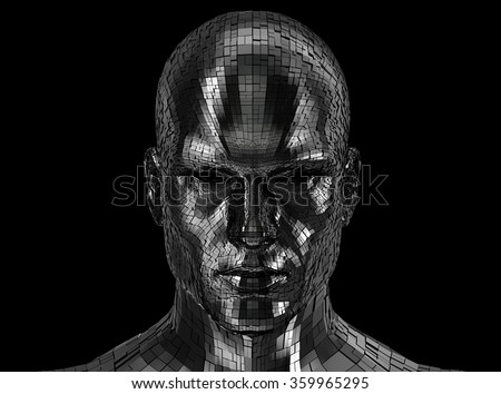 Robot face looking front on camera  - stock photo