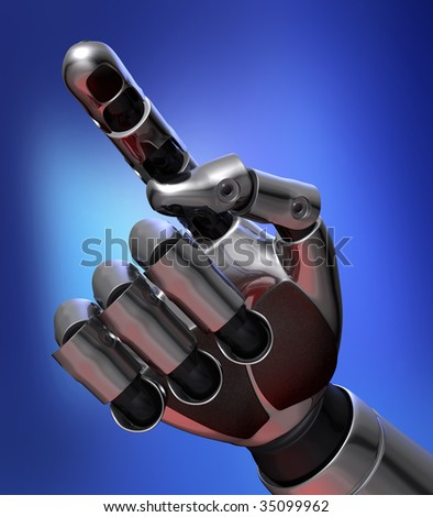 Robot finger touching the screen in blue background - stock photo