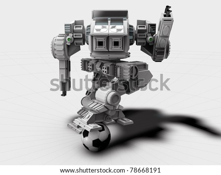robot football player isolated on white background