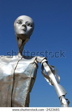 Robot Garden Sculpture - stock photo